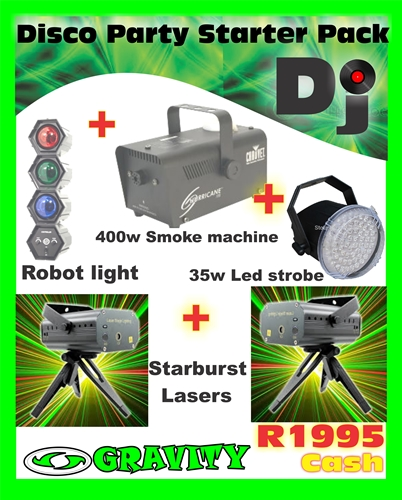 dj lighting starter pack kit laser lights smoke machine strobe light robot light at gravity dj store 0315072463